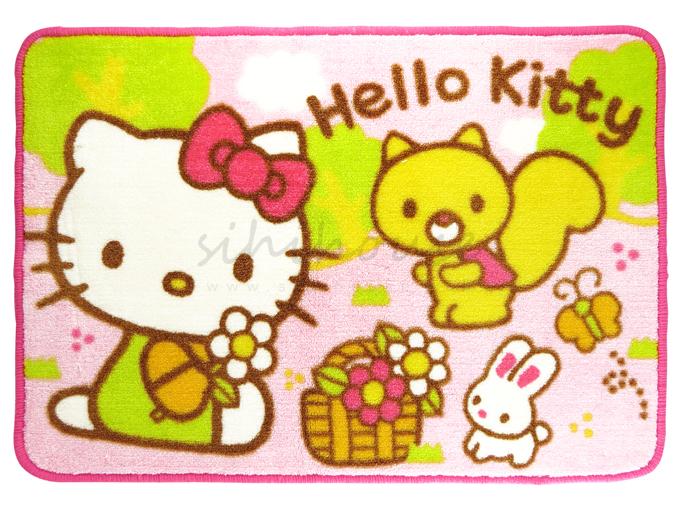 hello kitty小松鼠森林花园粉红色长形踏垫-出清